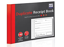80 Page Duplicate Receipt Book Numbered Pages 2 Sheets Carbon Paper Office Work