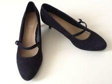 Size 6 1/2 Navy Suede Kitten Heel Wide Fit Court Shoes RRP £45