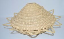"""Woven Grass Coil Basket with Attached Conical Lid Sunburst 15"""""""