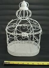 "Decorative Wire Bird Cage With Hook White 13"" Tall"