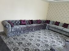 Chesterfield Corner Sofa In Crushed Velvet (Any Colour)