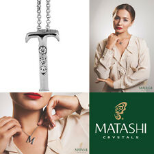 "16"" Rhodium Plated Necklace w/ ""T"" Initial & Crystals by Matashi"