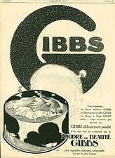 Publicité ancienne Produit de beauté Gibbs poudre  issu du magazine 1925 Lobry