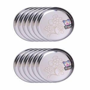 "Stainless Steel 22 Gauge 10.5"" Diameter Lazer Design Dinner Plates (Pack of 12,"