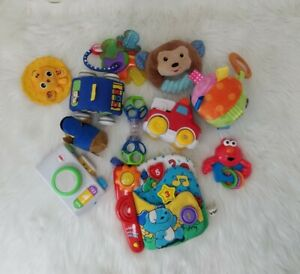 Colourful Baby Toy Plush Activity Rattles Teether Lot of 11