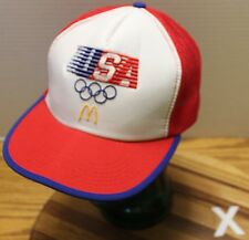 VINTAGE 1984 USA OLYMPICS MCDONALDS TRUCKERS SNAPBACK HAT LOS ANGELES GOOD COND