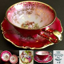 Antique Art Deco (1920s) Hand Painted German Waldershof Porcelain Cup & Saucer