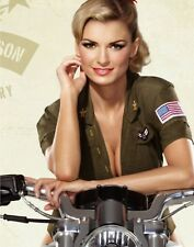 "TIN SIGN ""Army Girl Motorcycle"" Pinup Babe Deco Garage Wall Decor"