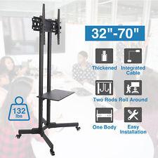"Adjustable Tv Stand Mobile Cart w. Storage Shelf for 32 37 40 46 47 50 55 65 70"""