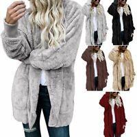 Women Ladies Fleece Hoodie Hooded Coat Top Winter Warm Jacket Overcoat Plus Size