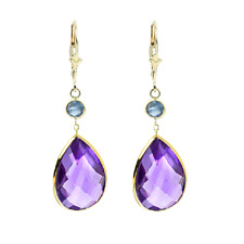14K Yellow Gold Gemstone Earrings with Pear Shape Amethyst and Round Blue Topaz