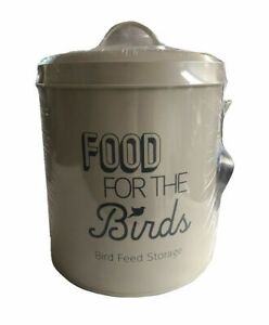 'Feed the Birds' Bird Food Tin/Grey with Scoop