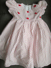 BABY GIRLS CHANTELLE DRESS WHITE & RED POLKA DOT & 3D ROSE DETAIL AGE 18-24M NEW