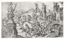 D0556 Maarten Van Heemskerck - Fuga in Egitto - Stampa antica 1930 - Old Print