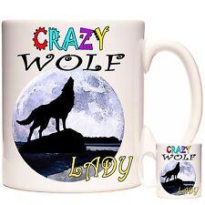 Howling Wolf Mug, céramique, peut être Personnalisé. au lave-vaisselle Crazy Wolf Lady