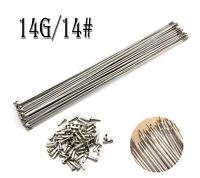 36PCS 14G/14# 2mm Stainless Steel Bike Bicycle Spoke Spokes + Nipples 250~305mm