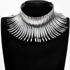 US Ship Jewelry Silver Chain Chunky Choker Collar Statement Pendant Bib Necklace
