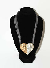 STATEMENT TWO TONE GOLD & SILVER HEART NECKLACE MAGNETIC CLOSURE ON GREY  CORD