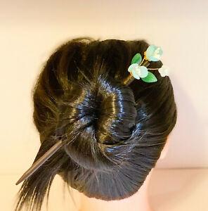 Wire Twisted Kanzashi Wooden Hairstick with Czech Beads Plum Flower Design