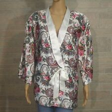Victoria Secret Satin Shirt Button L Sleep Lounge Red Striped Sleepwear & Robes