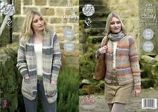 King Cole 4599 Knitting Pattern Ladies Cardigans in King Cole Drifter Chunky