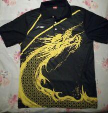 Li Ning Pro Badminton Table Tennis Match Shirt Large Mens Size Yellow black