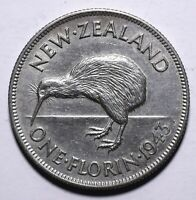 1943 New Zealand One 1 Florin - George VI 1st type - Lot 260