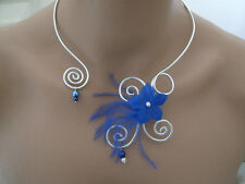 Collier Bleu Marine Argenté p robe de Mariée/Mariage/Soirée Fleur (pas cher)
