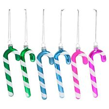 Set of 6 Bright Glass Candy Cane Christmas Tree Decorations / Bauble Ornaments