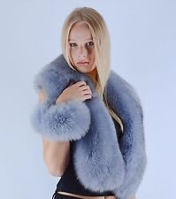 Saga Furs Baby Powder Blue Sapphire Fox Shoulder Wrap Scarf Boa Stole CUFFS GIFT