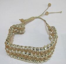 Lovely Pretty adjustable cream and silver tone faceted beads bracelet