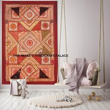 Cotton Indian Hippie Wall Decor Red Tapestry Patchwork Embroidered Wall Hanging