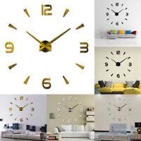 Stick On Wall Clock DIY Modern Design Decal 3D Stickers Mural Office Home Decor