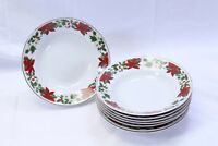 "Gibson Poinsettia Holiday Xmas Soup Bowls 8"" Lot of 8"