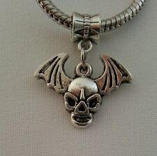 Winged Skull Bat Wings Halloween Pendant For European Style Bracelet Necklace