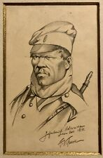 Original Polish World War I Signed And Dated Drawing Of A Soldier