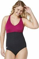 Speedo Women's Swimsuit One Piece Pebble Texture, Raspberry Radiance, Size 10.0