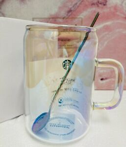 Starbucks Dazzle Colour Glass W/ Spoon Wine Cup Mug Korea Limited Edition Sakura