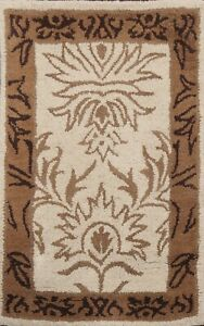 Ivory Traditional Floral Hand-Tufted Oriental Area Rug Wool Kitchen Carpet 2'x3'