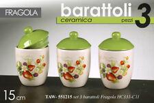 TRIS SET 3 PZ BARATTOLI BIANCHI H 15 CM CUCINA FRAGOLE VERDE CERAMICA TAW 551215
