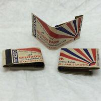 3 Vintage Matches Adverrtising Celoron Park Chautauqua Lake Patriotic WW2