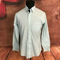 Brooks Brothers Slim Fit Blue Striped Yellow Button Front Shirt Medium