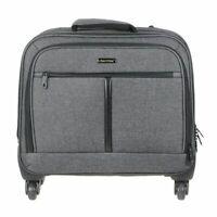 Aktenkoffer mit Rollen Business Trolley Notebook Koffer grau + Einkaufstasche