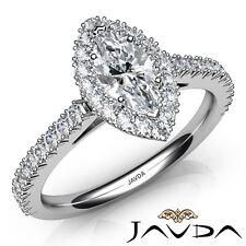 fccf94ccaa47 2.05ctw Francés Pavé Halo Marquesita Anillo de Compromiso Diamante GIA G-VS2  Oro