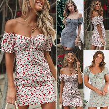 Women Floral Mini Beach Party Summer Evening Dress Cocktail Boho Sexy Maxi Dress