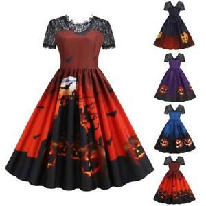 Plus Size Women Halloween A-Line Dress Swing Skater Dress Lady Fancy Party Dress