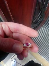 Beautiful Old 18ct And Platinum Ruby And DIAMOND 3 STONE RING