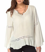 Ladies Ivory Tunic Long Sleeved Top with Lace in UK Size 6 - 18