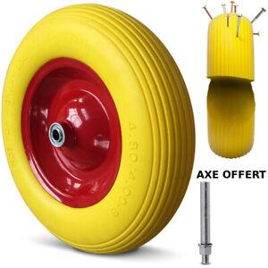 Roue Pneu de Brouette Increvable Jante 4.80/4.00-8 Charge Max 260Kg + Axe Ø 20mm
