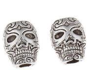 10 Totenkopf Perlen 10mm Schädel Silber Metallperlen Spacer Zwischenperlen F313